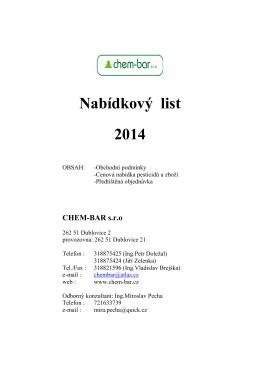 Nabídkový list – lesnictví 2014 - CHEM