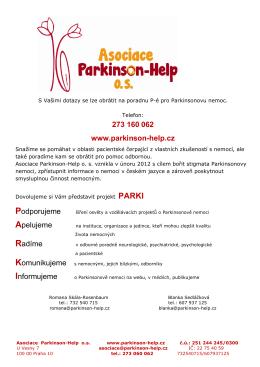273 160 062 www.parkinson-help.cz Apelujeme Radíme