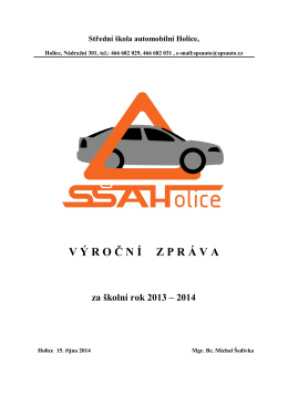 Výroční zpráva 2013/14 - SŠ automobilní Holice