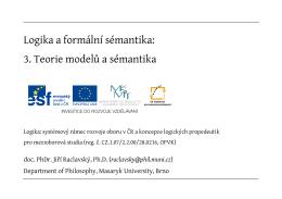 Logika a formální sémantika: 3. Teorie modelů a sémantika