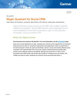 Magic Quadrant for Social CRM