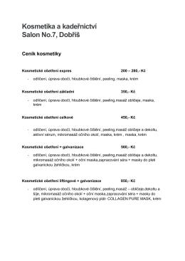 Ceník kosmetických služeb - Kosmetika a kadeřnictví Dobříš, Salon
