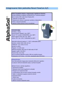 Integrovaná řídící jednotka Resol FlowCon A/S