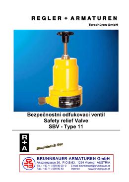 Bezpečnostní odfukovací ventil Safety relief Valve SBV