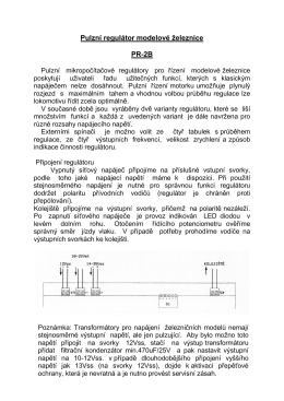 Pulzní regulátor modelové železnice PR-2B