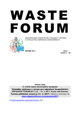 6. ročník česko-slovenského symposia Výsledky výzkum u a vývoje