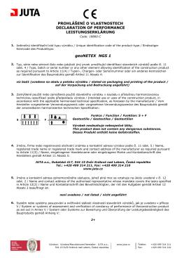 geoNETEX NGS 1 PROHLÁŠENÍ O VLASTNOSTECH