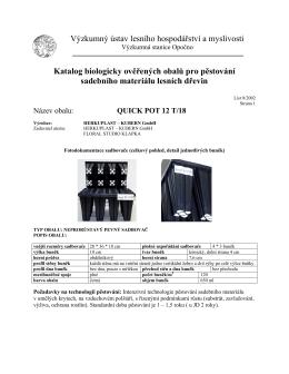 quick pot 12 t/18 - Výzkumná stanice Opočno