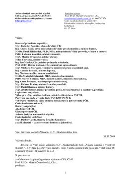 Průvodní dopis k záznamu - Jednota českých matematiků a fyziků