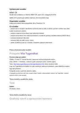 Prospekt Vila Tugendhat Test Grafický návrh a zpracování banneru