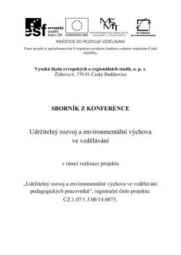 Udržitelný rozvoj a environmentální výchova ve