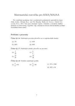 Matematická rozcvicka pro KMA/MA2AA