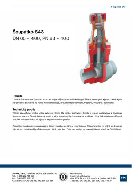 Šoupátko S43 DN 65 – 400, PN 63 – 400