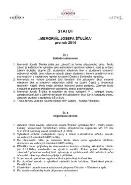 """STATUT ,,MEMORIÁL JOSEFA ŠŤULÍKA"""" pro rok 2014"""