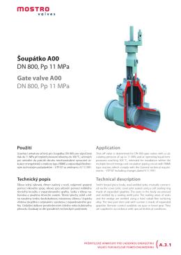 Šoupátko A00 DN 800, Pp 11 MPa Gate valve A00 DN 800, Pp 11