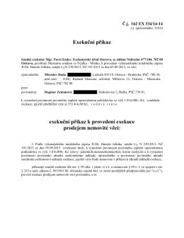 Exekuční příkaz exekuční příkaz k provedení exekuce prodejem