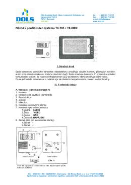 Návod k použití video systému TK-703C+TK-808C