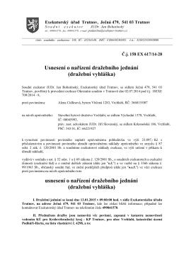 Usnesení o nařízení dražebního jednání (dražební