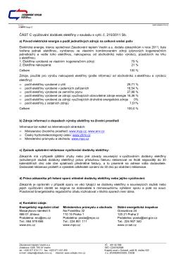 Doprovodná část vyúčtování elektřiny dle vyhl. 210/2011 Sb.