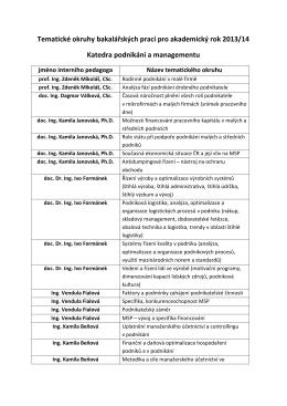 Okruhy témat bakalářských prací pro akademický rok 2013/14