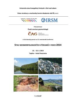 stav geomorfologických výzkumů v roce 2014