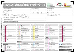 21. Zlínské laboratoře - žádanka na základní laboratorní vyšetření
