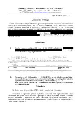 Usnesení o příklepu - JUDr. Dagmar Kuželová