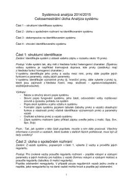 Systémová analýza 2014/2015 Celosemestrální úloha Analýza