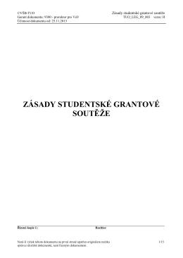 Zásady studentské grantové soutěže