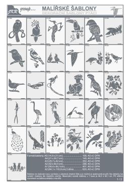 Katalog šablon - ptáci
