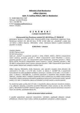 Městský úřad Boskovice odbor dopravy nám. 9. května