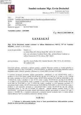 Soudní exekutor Mgr. Ervín Dreiseitel USNESEN Í