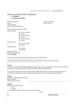 BOZP Záznam o provedení zkoušky na alkohol a návykové látky