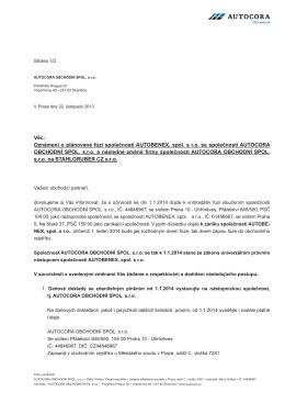 Oznámení o plánované fúzi společnosti AUTOBENEX