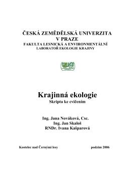 Krajinná ekologie - 6. kruh CZU VSRR