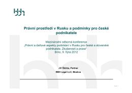 Právní prostředí v Rusku a podmínky pro české podnikatele
