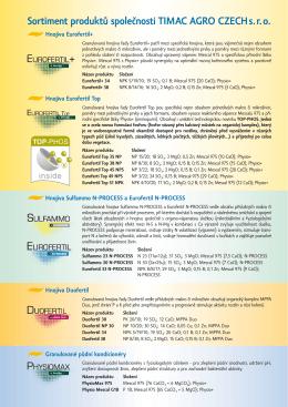 Sortiment produktů společnosti TIMAC AGRO CZECH s. r. o.