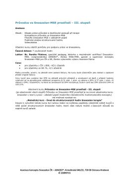 Průvodce ve Snoezelen-MSE prostředí – III. stupeň