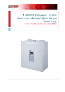EHR 275 Ekonovent – vysoko výkonnostní rekuperační