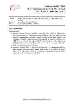 Zápis z jednání 19.7.2012 Rady odborových