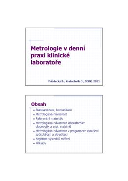 Metrologie v denní praxi klinické laboratoře