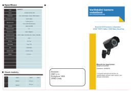 Specifikace Varifokální kamera vodotěsná