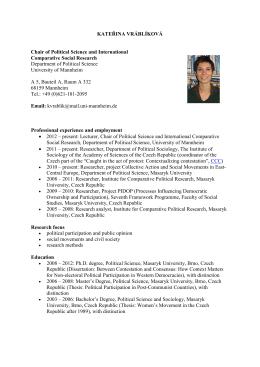 Cirriculum Vitae - Universität Mannheim