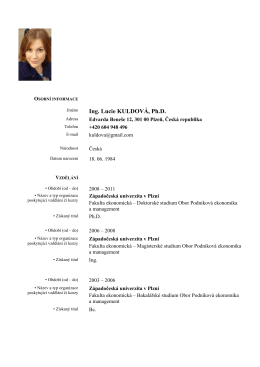 Ing. Lucie KULDOVÁ, Ph.D.