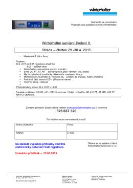 Winterhalter servisní školení II. Středa – čtvrtek 29.