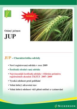 Ozimý ječmen JUP – Charakteristika odrůdy