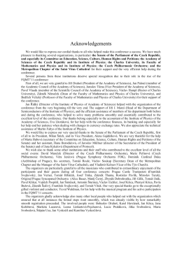 Acknowledgements - (FQMT) Conferences