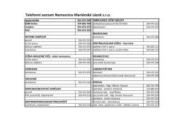 Telefonní seznam Nemocnice Mariánské Lázně s.r.o.