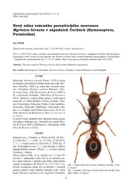 Nový nález vzácného parazitického mravence Myrmica hirsuta v