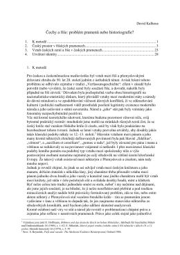 Čechy a říše: problém pramenů nebo historiografie
